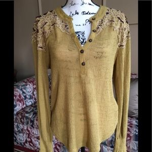 "NWOT ""Free People""Henley top with crocheted detail"